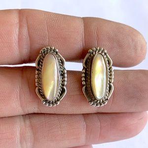 Navajo Sterling Mother Of Pearl Stud Earrings